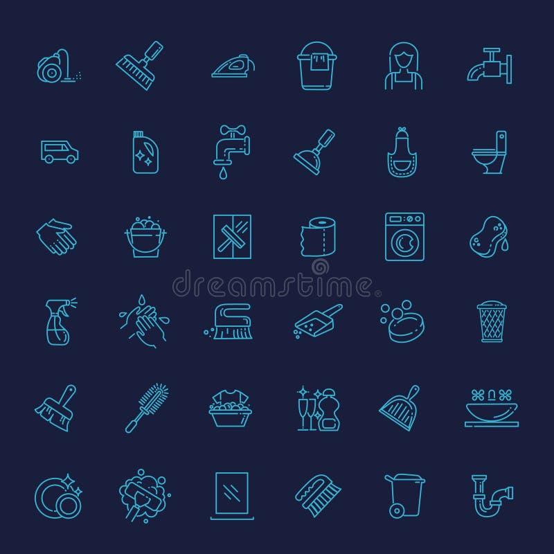 Wektorowa konturu cleaning ikona