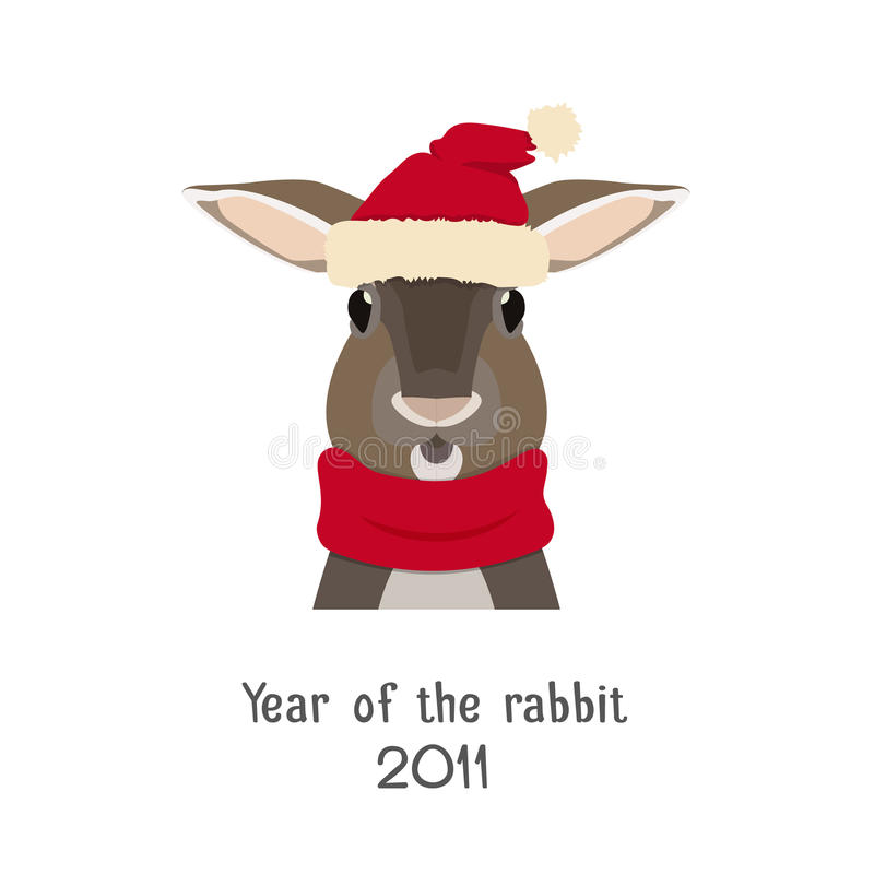 Wektorowa królik głowa w nowego roku czerwonym kapeluszu szaliku i royalty ilustracja