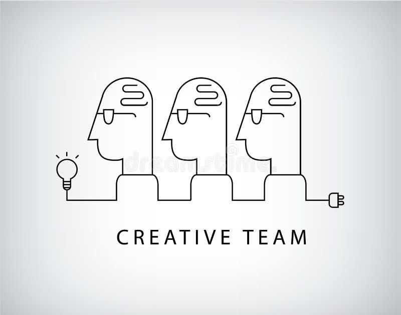 Wektorowa kreatywnie drużyna, grupa robocza logo, liniowy, socjalny sieć royalty ilustracja