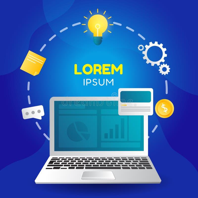 Wektorowa kreatywnie ilustracja proces lub biznesowego planowania sztandar z elementami graficznymi royalty ilustracja