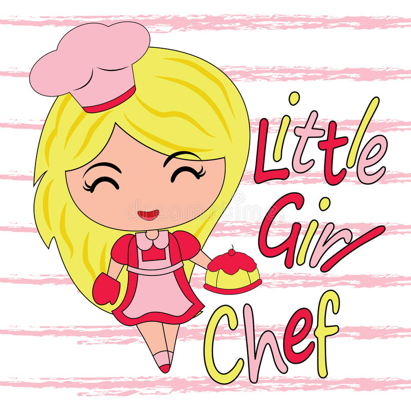 Wektorowa kreskówka śliczna dziewczyna jako mały szefa kuchni tort stosowny dla dzieciaka t koszulowego projekta royalty ilustracja