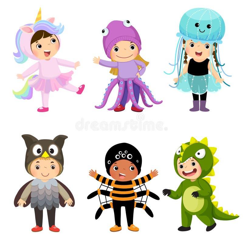 Wektorowa kreskówka śliczni dzieciaki w zwierzęcych kostiumach ustawiających Karnawałowi clo royalty ilustracja