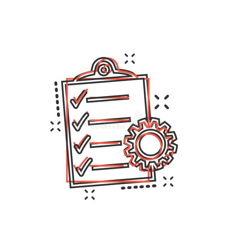 Wektorowa kreskówka dokumentu ikona w komiczka stylu Zarządzanie Projektem royalty ilustracja