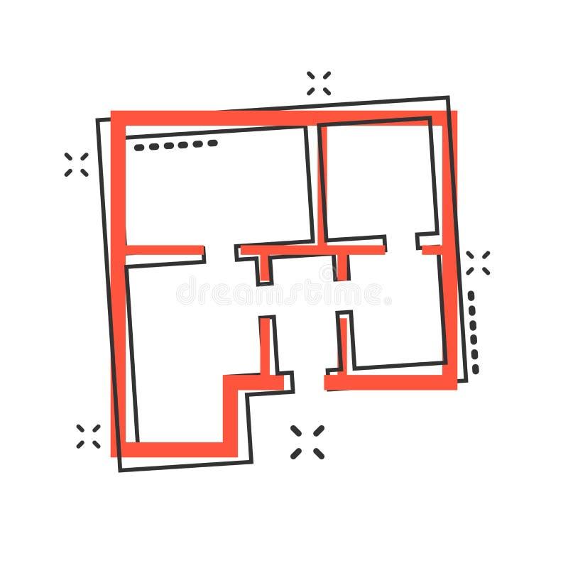 Wektorowa kreskówka domu planu ikona w komiczka stylu Architekta plan ilustracja wektor