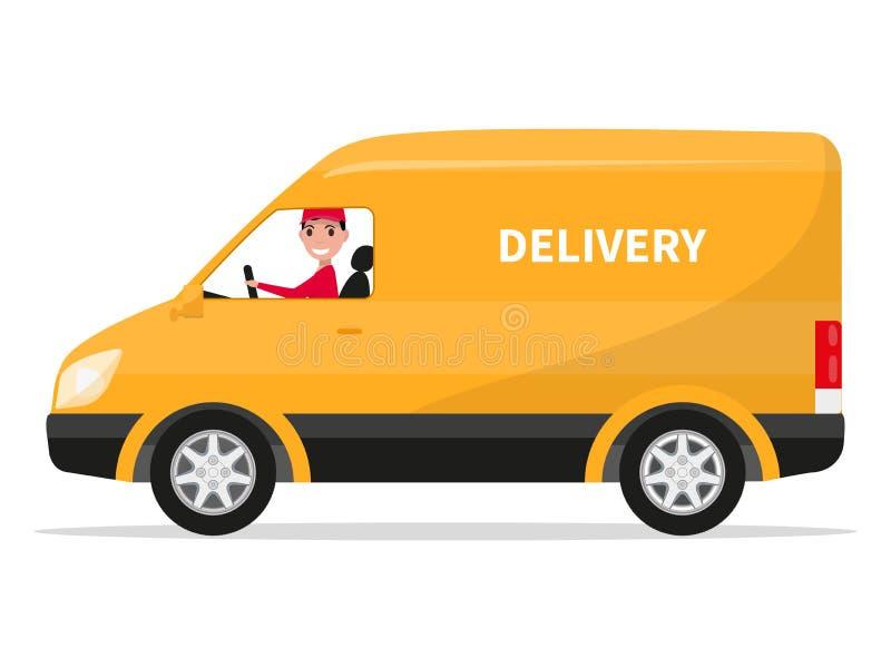 Wektorowa kreskówka doręczeniowego samochodu dostawczego ciężarówka z deliveryman ilustracji