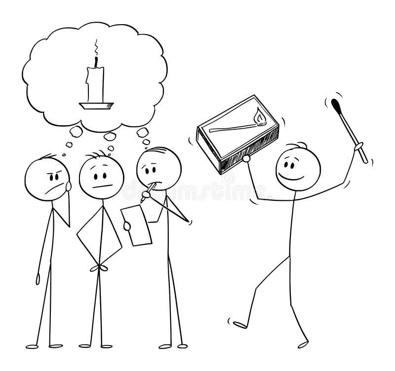 Wektorowa kreskówka drużyna biznesmeni Brainstorming dla rozwiązania Inny mężczyzna Przynosi dopasowania jako metafora pomysł ilustracja wektor