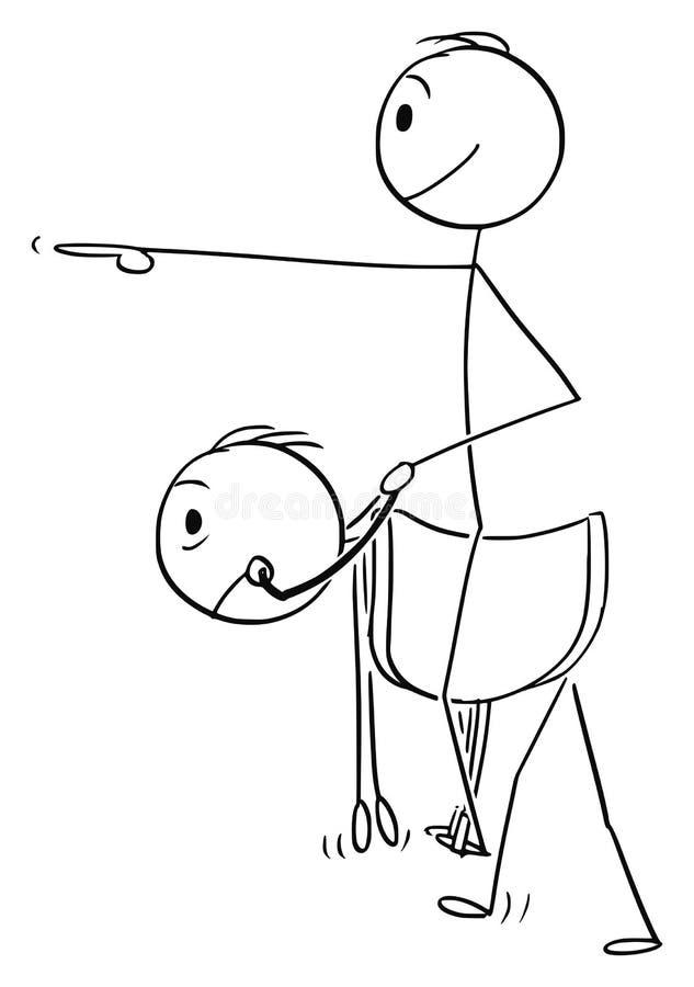 Wektorowa kreskówka, jazda na plecy i Inny pracownik lub mężczyzna Lubimy konia ilustracja wektor