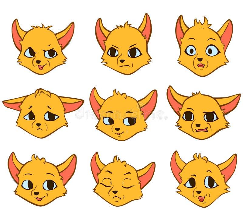 Wektorowa kreskówka konturu emocja żółty lis ilustracja wektor