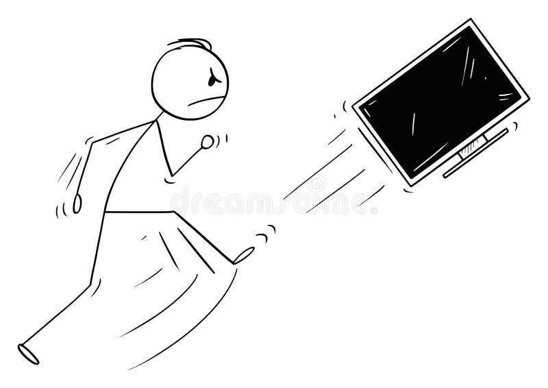 Wektorowa kreskówka Kopie Za telewizja, ekranie komputerowym lub TV Gniewny mężczyzna lub ilustracja wektor