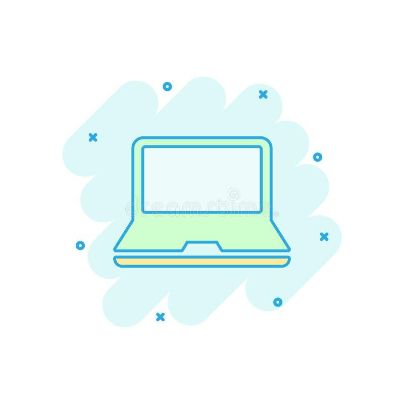 Wektorowa kreskówka laptopu ikona w komiczka stylu Notatników sig ilustracji