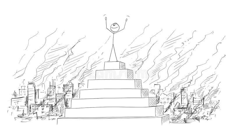 Wektorowa kreskówka mężczyzna, biznesmen lub polityk Świętuje Jego Triumph na szczycie ostrosłup Z Zniszczonym royalty ilustracja