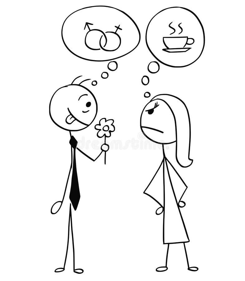 Wektorowa kreskówka mężczyzna i kobieta na dacie, Różni pomysły płeć royalty ilustracja