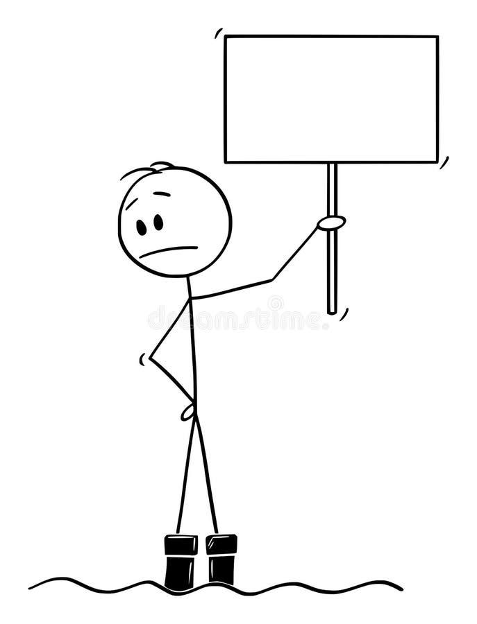 Wektorowa kreskówka mężczyzna pozycja w Wodnej powodzi i dopatrywanie z koncernem Jak woda Kontynuuje Wzrastać ilustracji