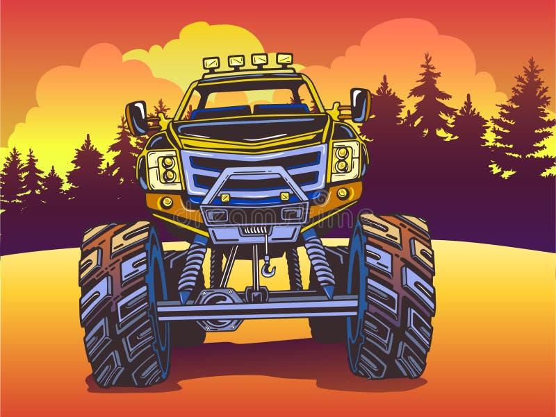 Wektorowa kreskówka potwora ciężarówka na wieczór krajobrazie w wystrzał sztuki stylu sporty ekstremalne ilustracji