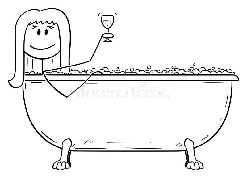 Wektorowa kresk?wka Relaksuje w wsad balii z szk?em wino kobieta ilustracja wektor