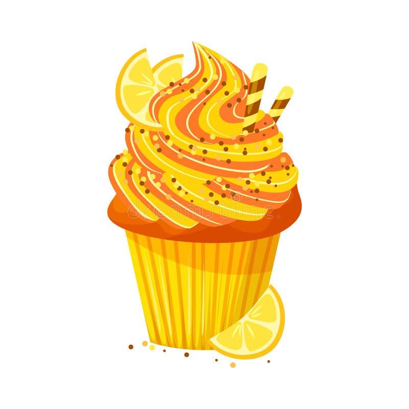 Wektorowa kreskówka stylu ilustracja słodka babeczka Wyśmienicie słodki deser dekorował z creme i cytryną pojedynczy bułeczki ilustracja wektor