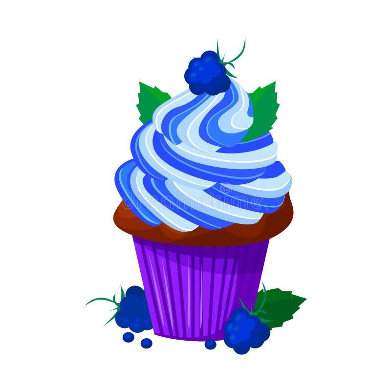 Wektorowa kreskówka stylu ilustracja słodka babeczka Wyśmienicie słodki deser dekorował z creme i czernicą pojedynczy bułeczki ilustracji