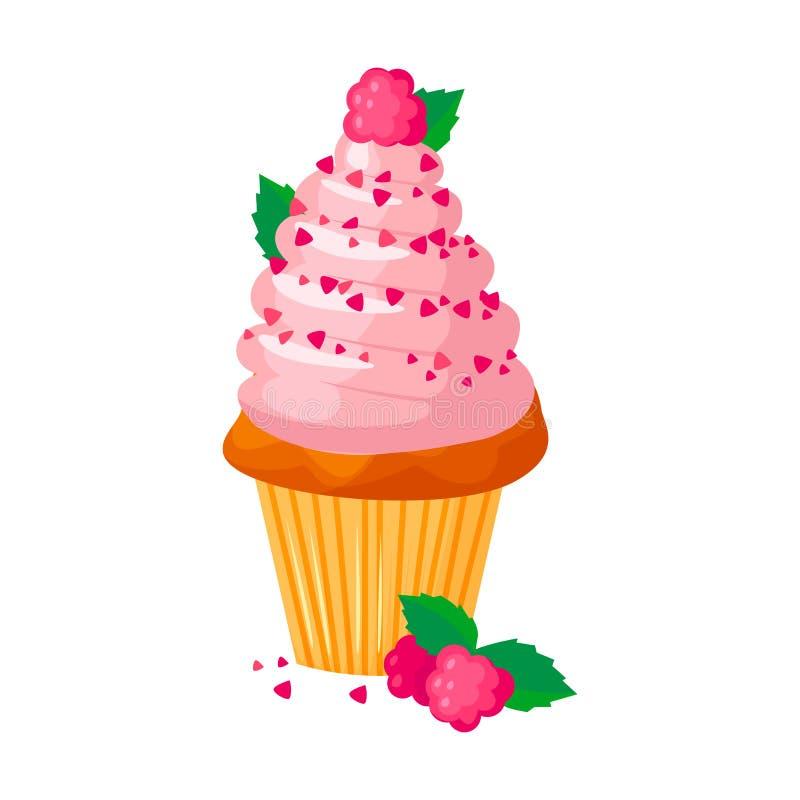 Wektorowa kreskówka stylu ilustracja słodka babeczka Wyśmienicie słodki deser dekorował z creme i malinkami pojedynczy bułeczki ilustracji