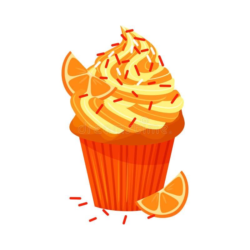Wektorowa kreskówka stylu ilustracja słodka babeczka Wyśmienicie słodki deser dekorował z creme i pomarańcze pojedynczy bułeczki ilustracji