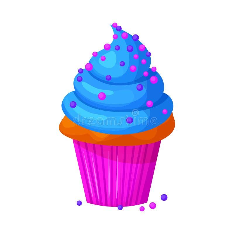 Wektorowa kreskówka stylu ilustracja słodka babeczka Wyśmienicie słodki deser dekorujący z błękitnym creme i kropi ilustracji