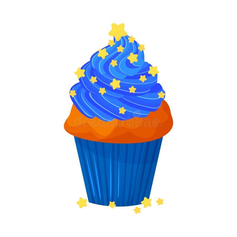 Wektorowa kreskówka stylu ilustracja słodka babeczka Wyśmienicie słodki deser dekorujący z błękitnymi creme i ciasta gwiazdami mu royalty ilustracja