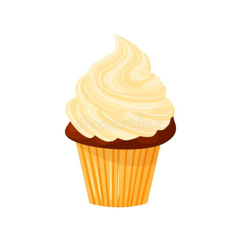 Wektorowa kreskówka stylu ilustracja słodka babeczka Wyśmienicie słodki deser dekorujący z creme pojedynczy bułeczki royalty ilustracja