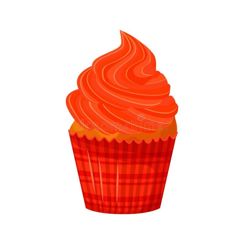 Wektorowa kreskówka stylu ilustracja słodka babeczka Wyśmienicie słodki deser dekorujący z czerwonym creme pojedynczy bułeczki royalty ilustracja