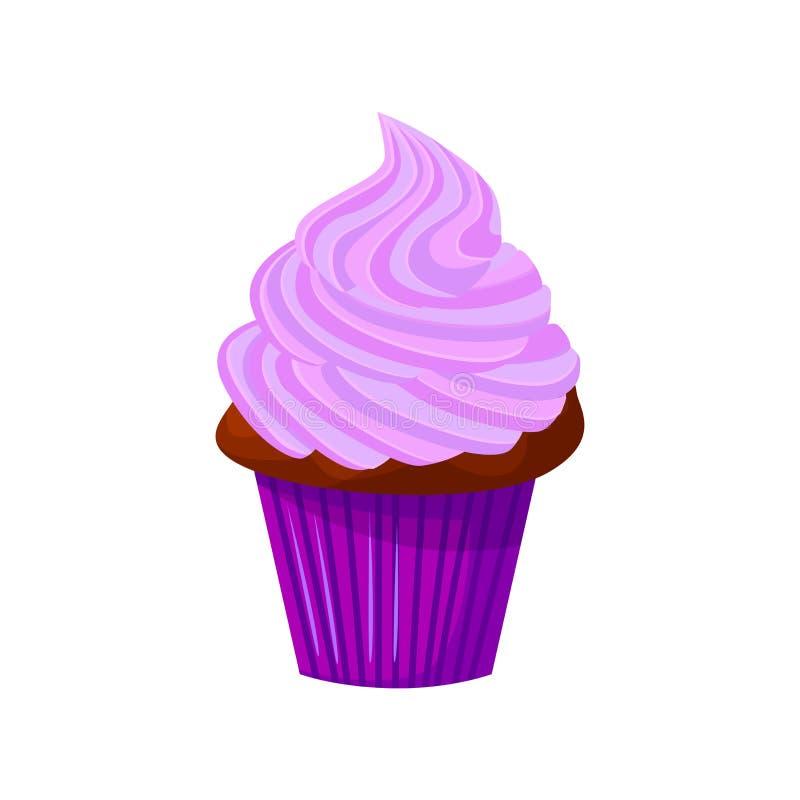 Wektorowa kreskówka stylu ilustracja słodka babeczka Wyśmienicie słodki deser dekorujący z lawendowym creme pojedynczy bułeczki ilustracji