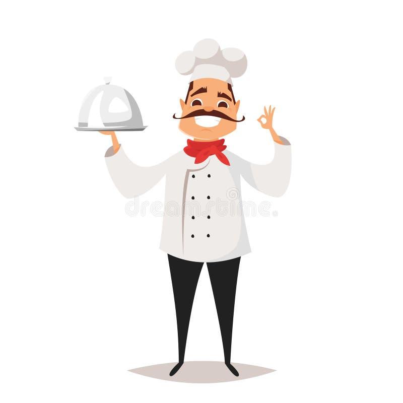 Wektorowa kreskówka stylu ilustracja uśmiechnięty szefa kuchni kucharz royalty ilustracja