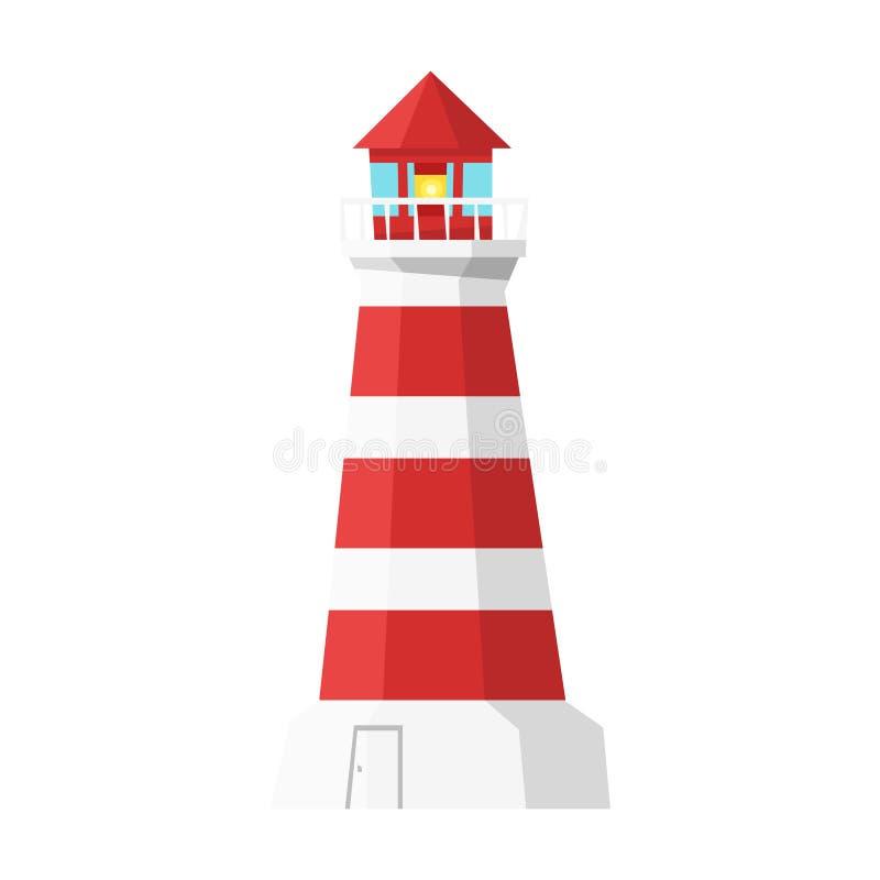 Wektorowa kreskówka stylu latarnia morska Ikona dla sieci Na białym tle royalty ilustracja