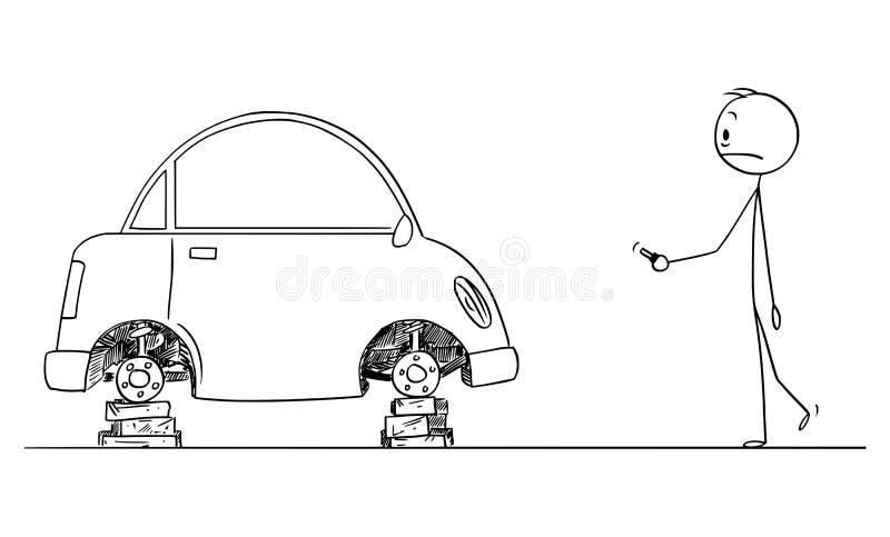 Wektorowa kreskówka Szokujący mężczyzna Który Zakłada Jego samochód Bez kół i opon ilustracji