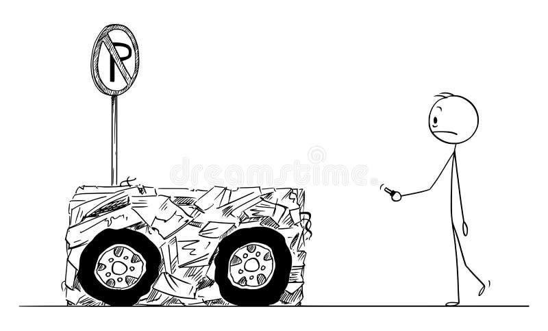 Wektorowa kreskówka Szokujący mężczyzna Przeznaczać do rozbiórki Gdy Parkujący w Żadny parking terenie Który Zakłada Jego samochó royalty ilustracja