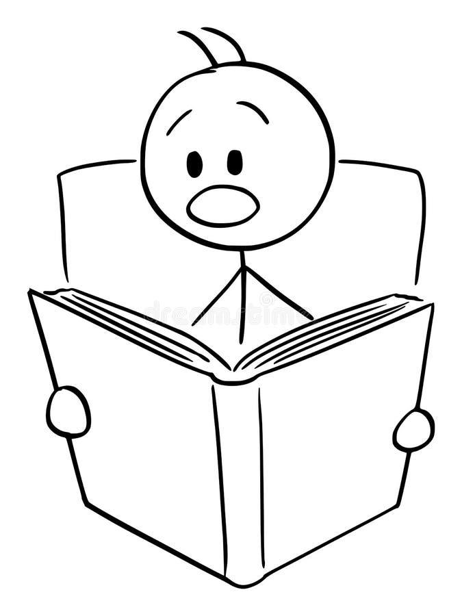 Wektorowa kreskówka Szokujący, Przestraszący mężczyzna Czyta książkę lub ilustracja wektor