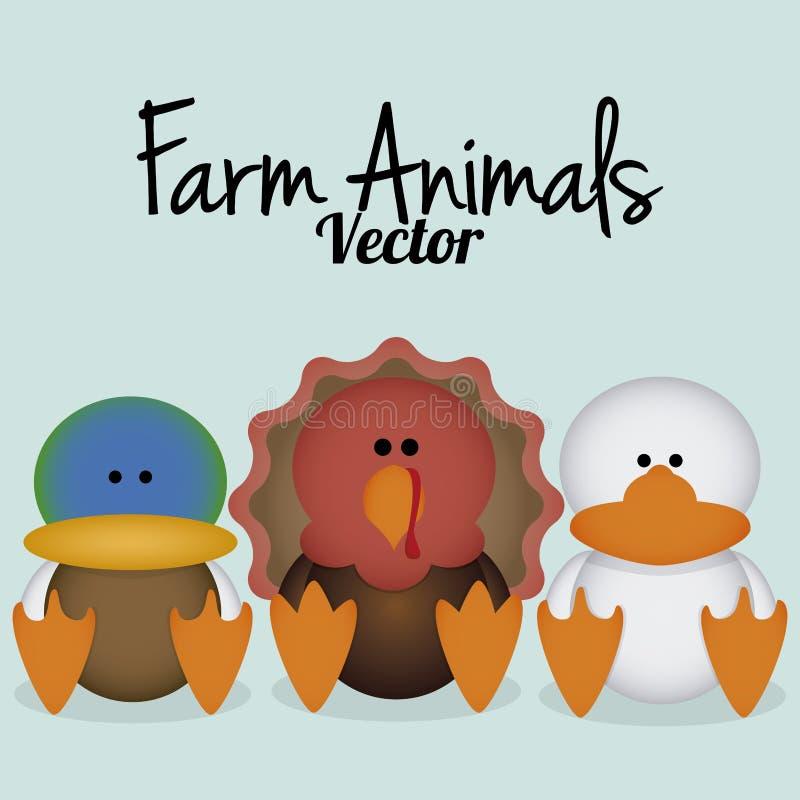 Wektorowa kreskówka Ustawiająca Śliczni Rolni ptaki ilustracja wektor
