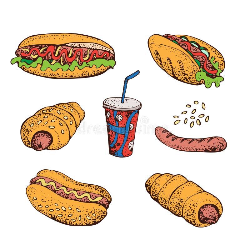 Wektorowa kreskówka ustawiająca fast food Hot dog, kiełbasa w cieście, grill, soda Odizolowywający na bielu royalty ilustracja