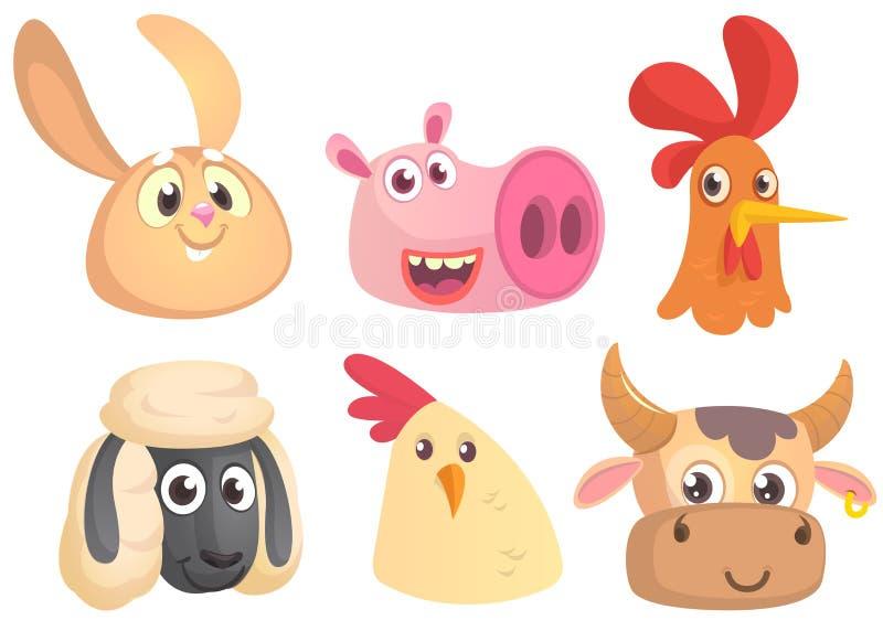 Wektorowa kreskówka ustawiająca zwierzęta gospodarskie Królik, świnia, kogut, cakiel, kurczak, krowa ilustracji
