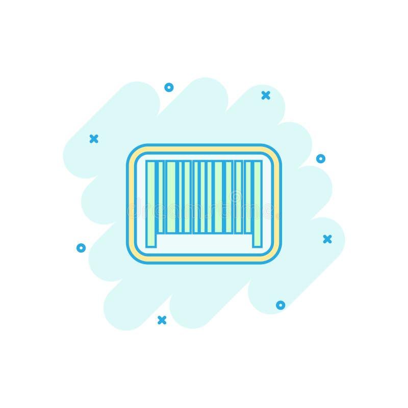 Wektorowa kreskówki barcode produktu dystrybuci ikona w komiczka stylu royalty ilustracja