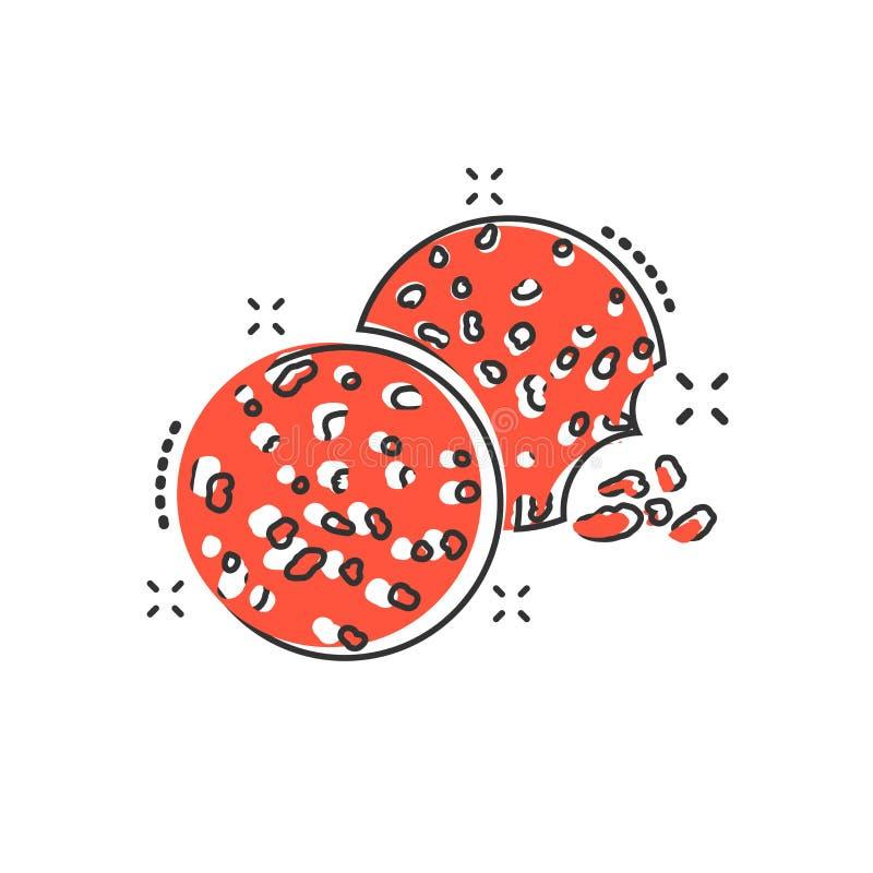 Wektorowa kreskówki ciastka ikona w komiczka stylu Układu scalonego ciastka znaka bolączka ilustracja wektor