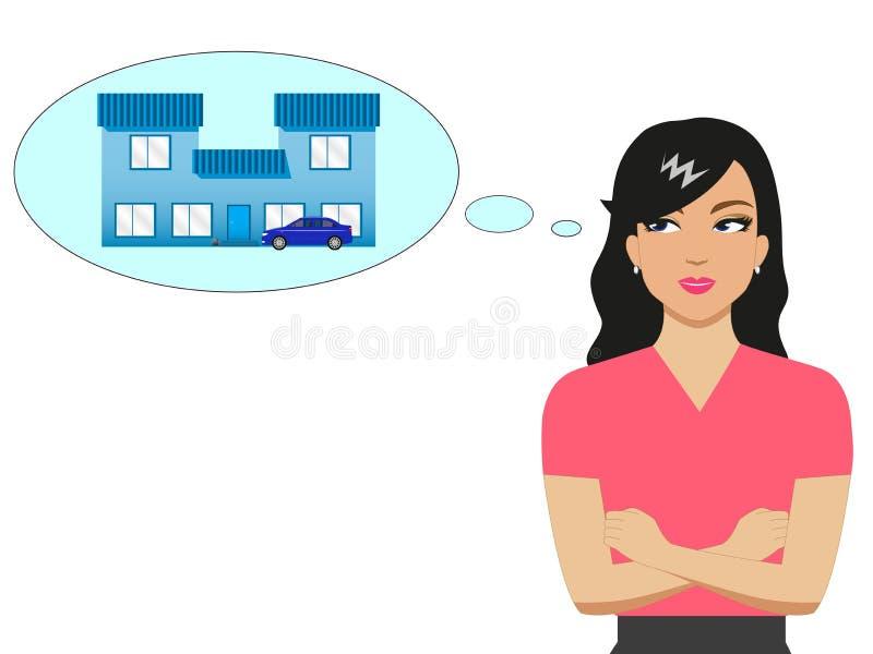 Wektorowa kreskówki dziewczyna marzy dom i samochód royalty ilustracja