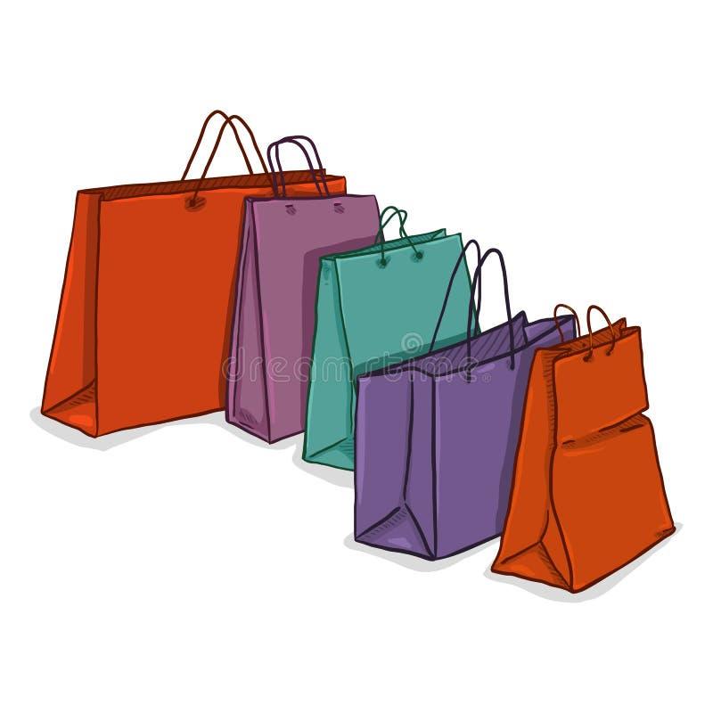 Wektorowa kreskówki grupa Plastikowi torba na zakupy ilustracja wektor