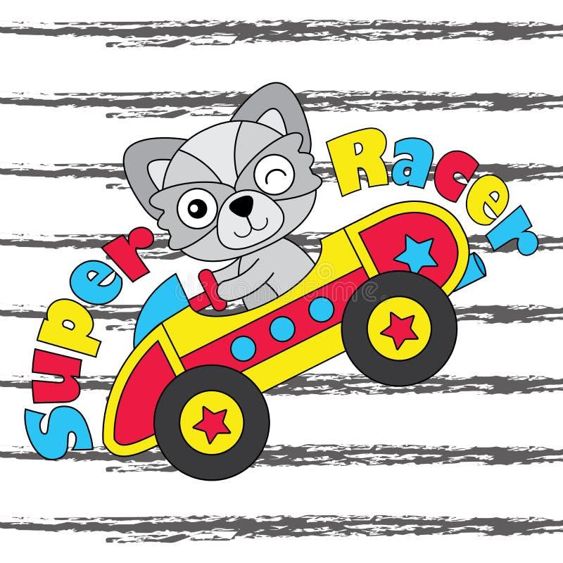 Wektorowa kreskówki ilustracja śliczna lis chłopiec jedzie samochód wyścigowego stosownego dla dzieciak koszulki graficznego proj ilustracja wektor