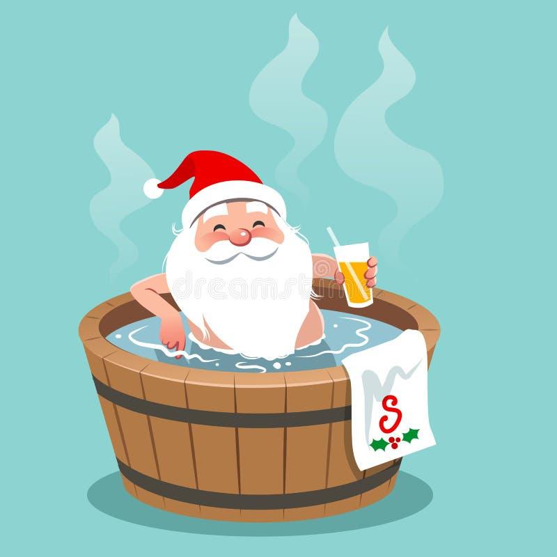Wektorowa kreskówki ilustracja Święty Mikołaj obsiadanie w drewnianym b royalty ilustracja