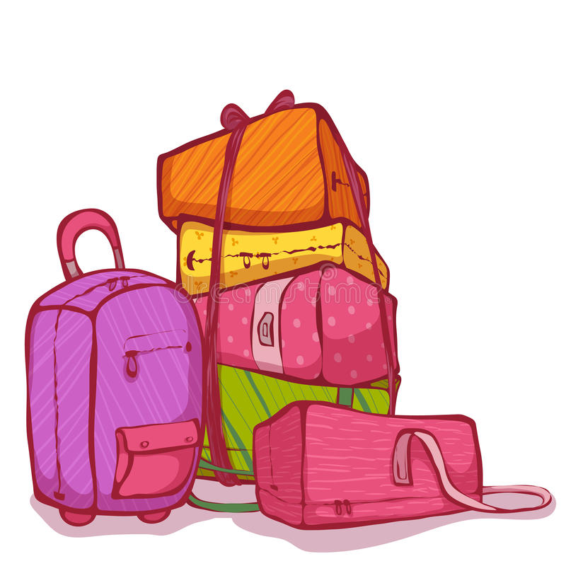 Wektorowa kreskówki ilustracja kolor torby ustawiać ilustracja wektor