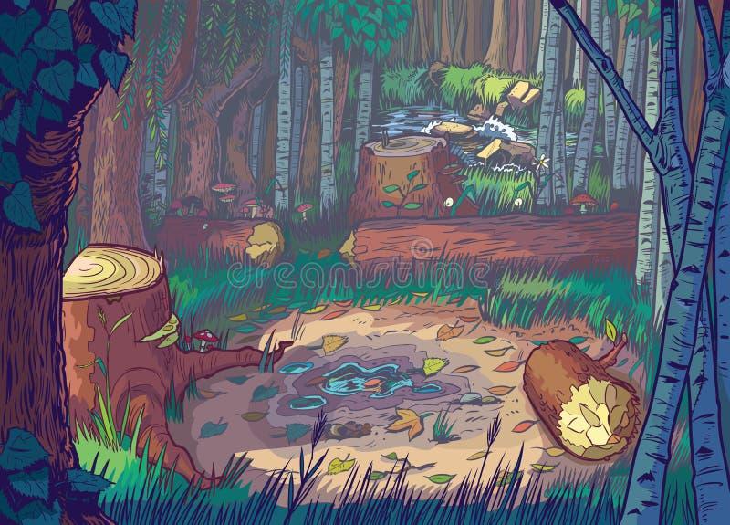Wektorowa kreskówki ilustracja Lasowa polana S ilustracji