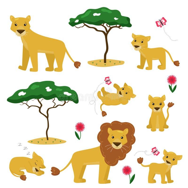Wektorowa kreskówki ilustracja lew rodziny kolekcja ilustracja wektor