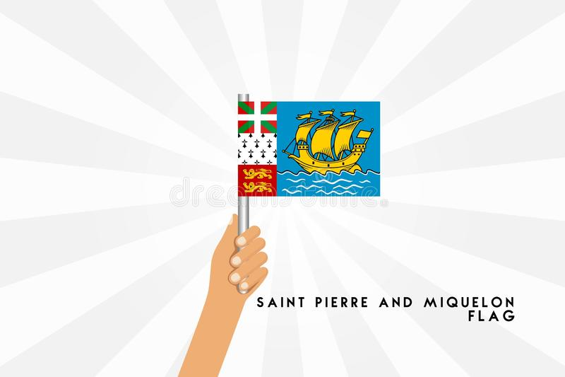 Wektorowa kreskówki ilustracja ludzkie ręki trzyma Świątobliwego Pierre i Miquelon flagi royalty ilustracja