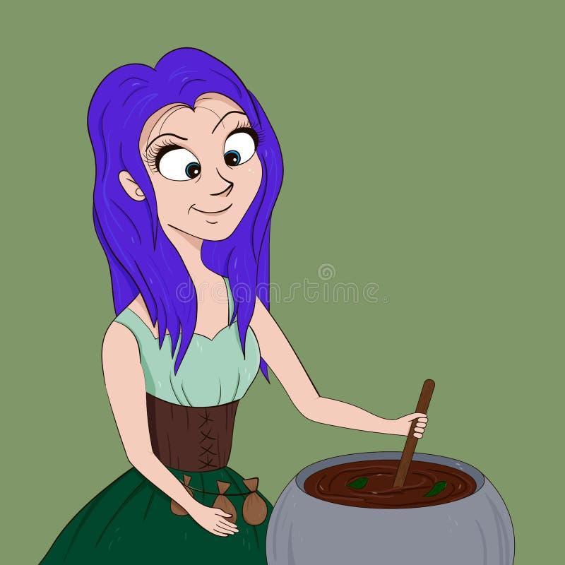 Wektorowa kreskówki ilustracja mały czarownicy dziewczyny fertania napój miłosny ilustracji