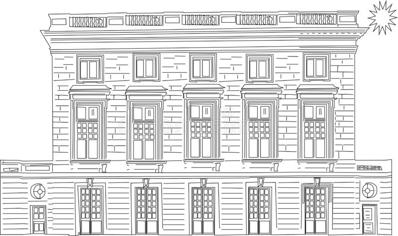 Wektorowa kreskówki ilustracja miastowy krajobraz z wielkimi nowożytnymi budynkami r ilustracja wektor
