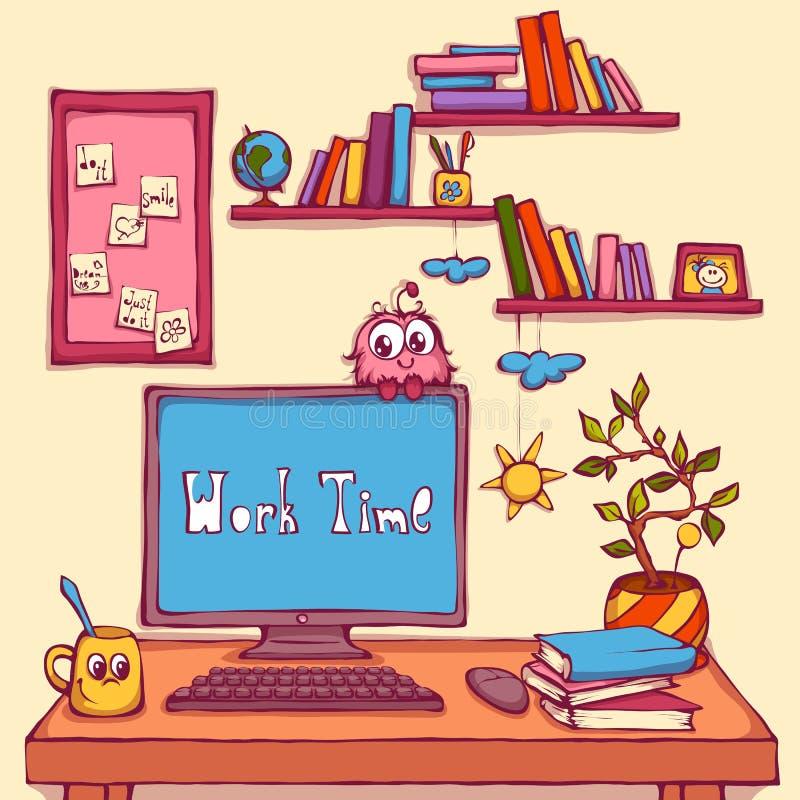 Wektorowa kreskówki ilustracja miejsce pracy w biurze ilustracji
