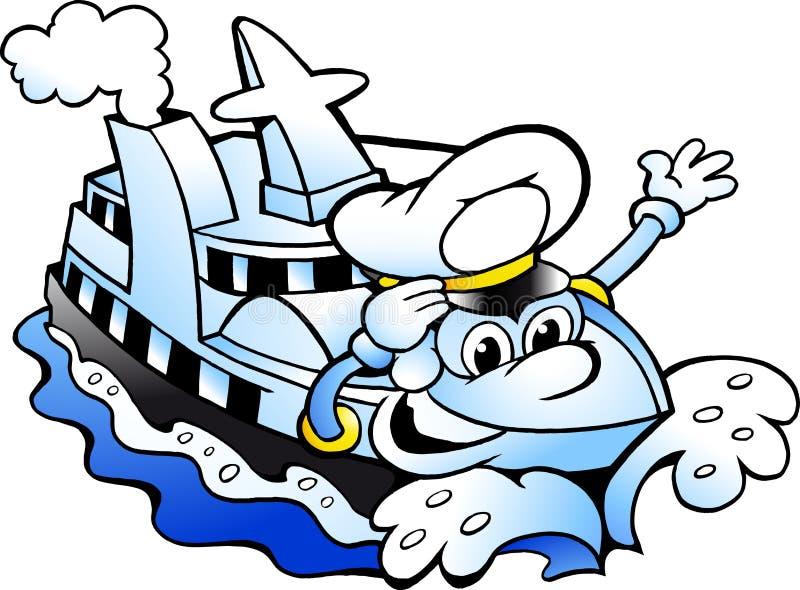 Wektorowa kreskówki ilustracja Szczęśliwa statku wycieczkowego kapitanu maskotka ilustracja wektor